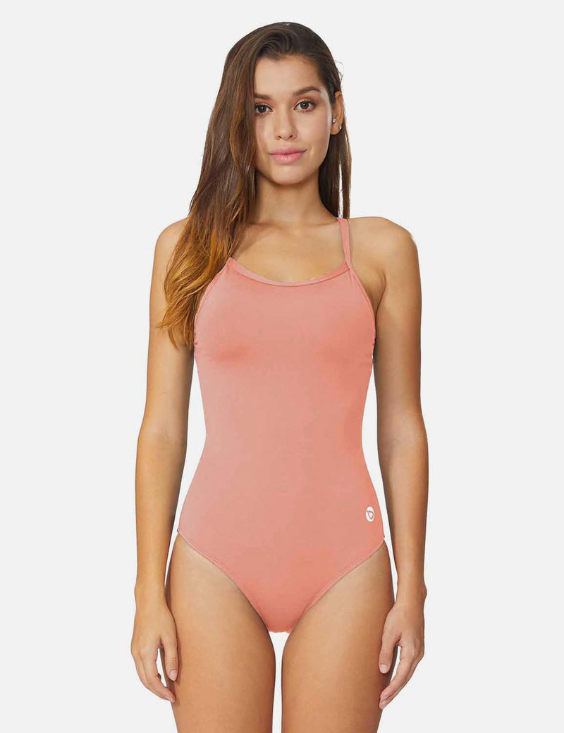 Baleaf Women'sSemi-Open V-Back One Piece Pool Side Swimsuit Pink front