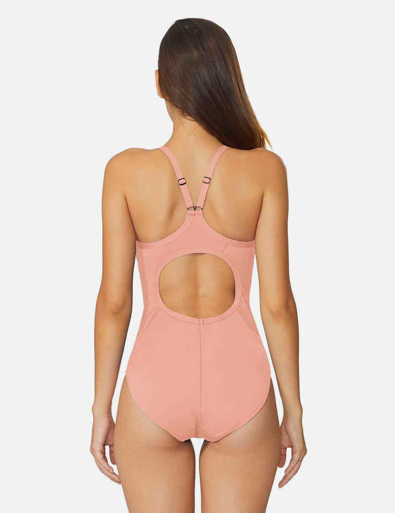 Baleaf Women'sSemi-Open V-Back One Piece Pool Side Swimsuit Pink back