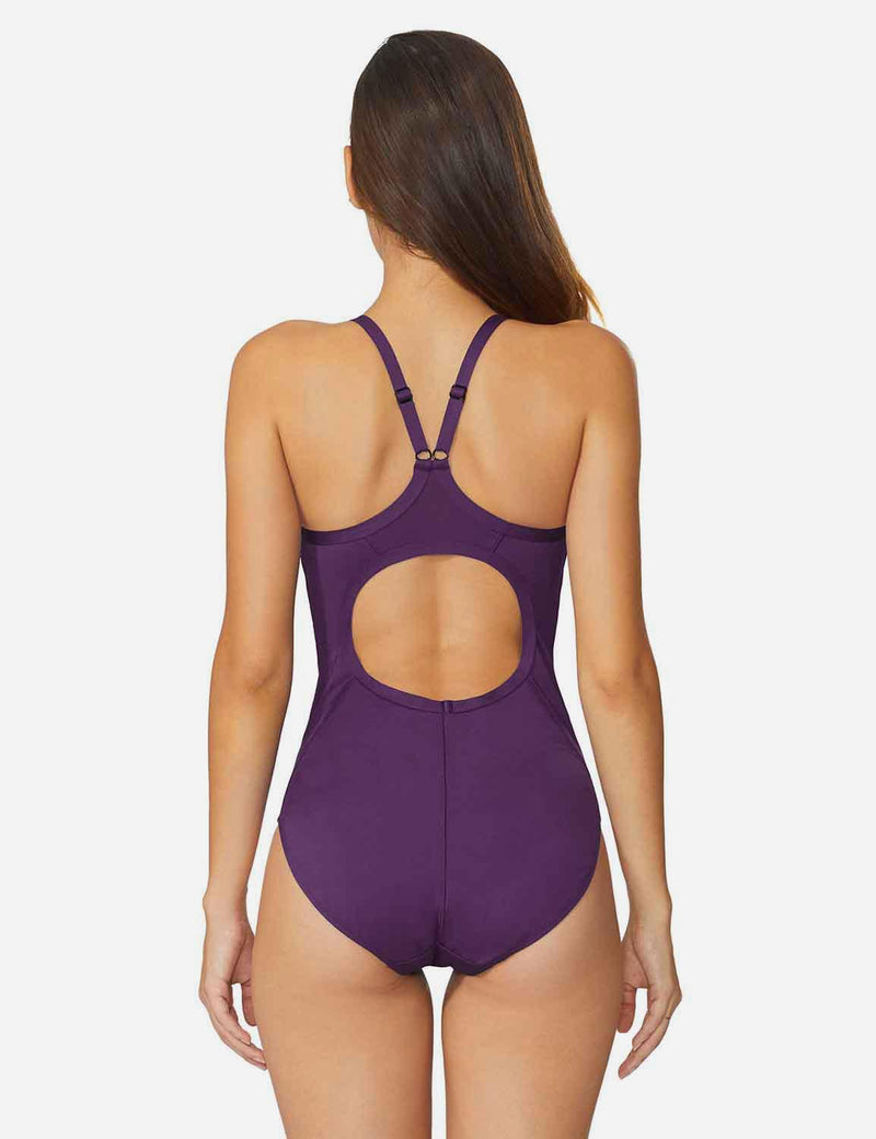 Baleaf Women'sSemi-Open V-Back One Piece Pool Side Swimsuit Purple back