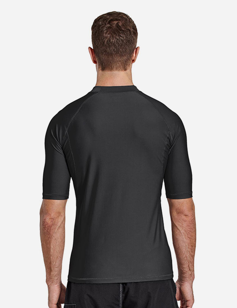 Baleaf Mens UPF50+ Compression Half Sleeved Crewneck Shirt Black Front