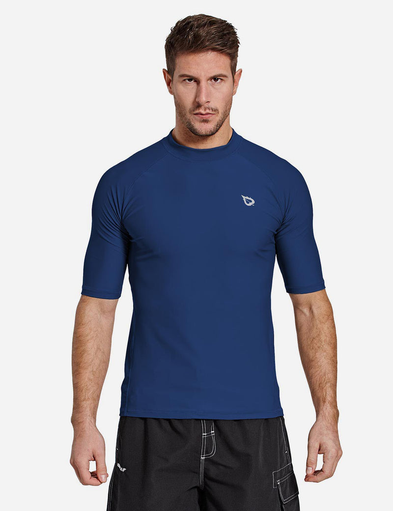 Baleaf Mens UPF50+ Compression Half Sleeved Crewneck Shirt Dark Blue Side
