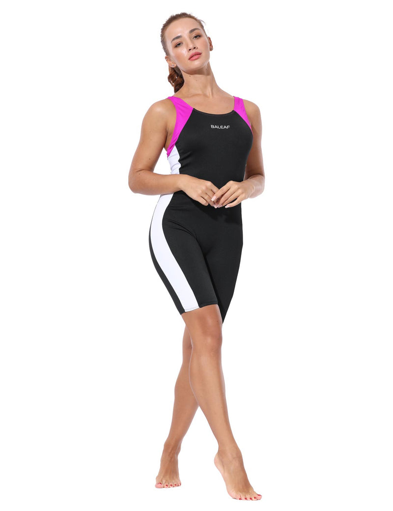 Baleaf Womens UPF 50+ Keyhole Boyleg One Piece Swimsuit Black Rose White Full