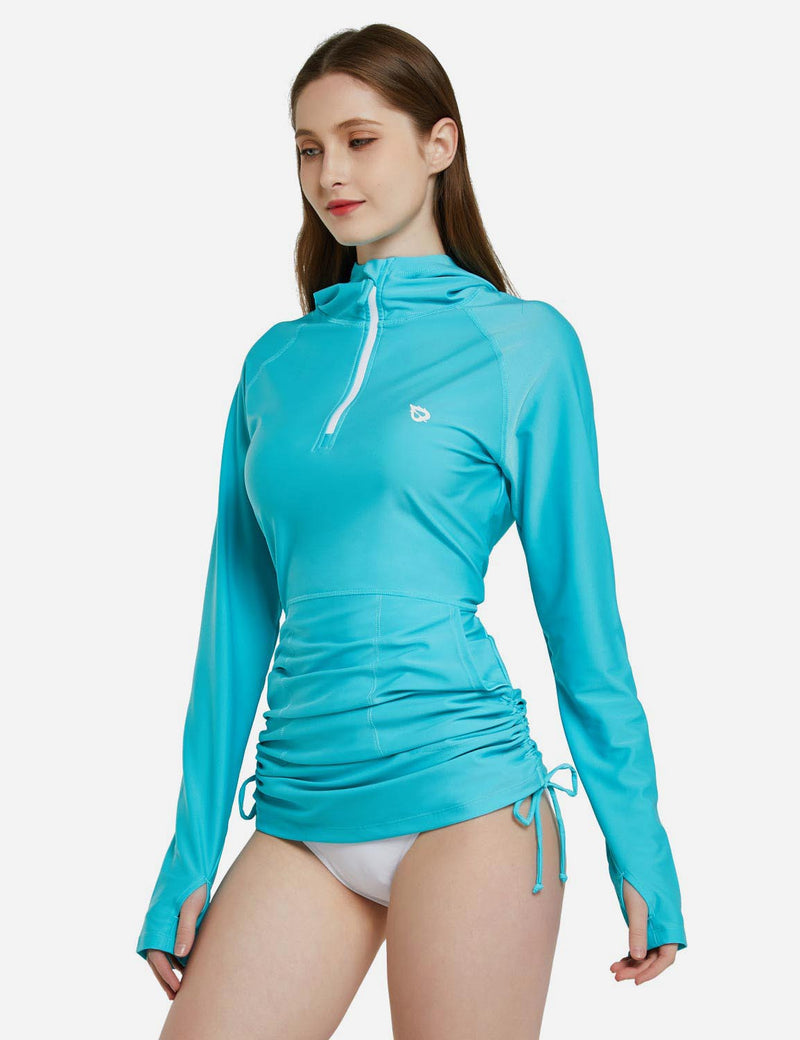 Baleaf Womens Versatile UPF 50+ Rash Guard 1/4 Zipper Hooded Beach Top w Thumbholes Sky Blue Side