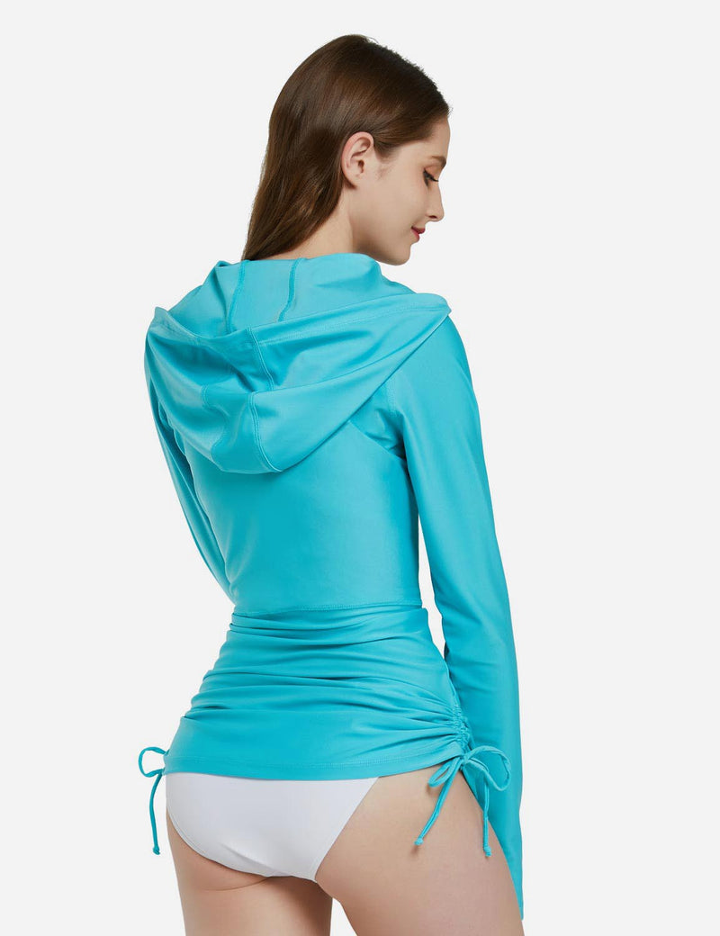 Baleaf Womens Versatile UPF 50+ Rash Guard 1/4 Zipper Hooded Beach Top w Thumbholes Sky Blue Back