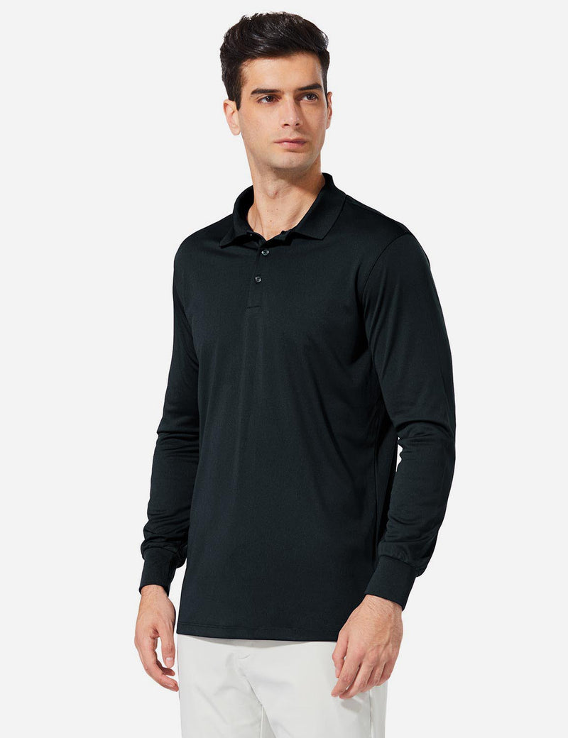 Baleaf Men UPF 50+ Polo Golf Long Shirts black side