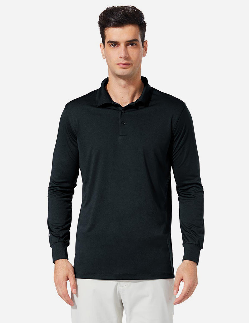 Baleaf Men UPF 50+ Polo Golf Long Shirts black front