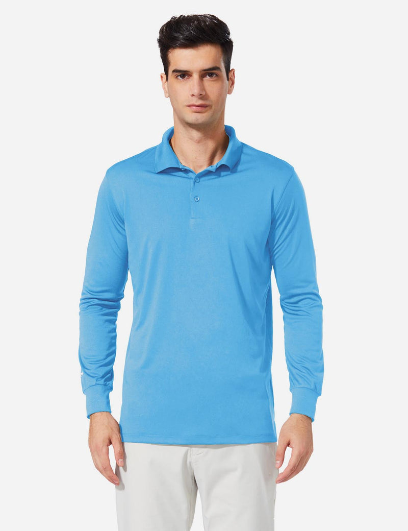 Baleaf Men UPF50+ Button Up Long Sleeved Cuffed Polo Golf Blue Front