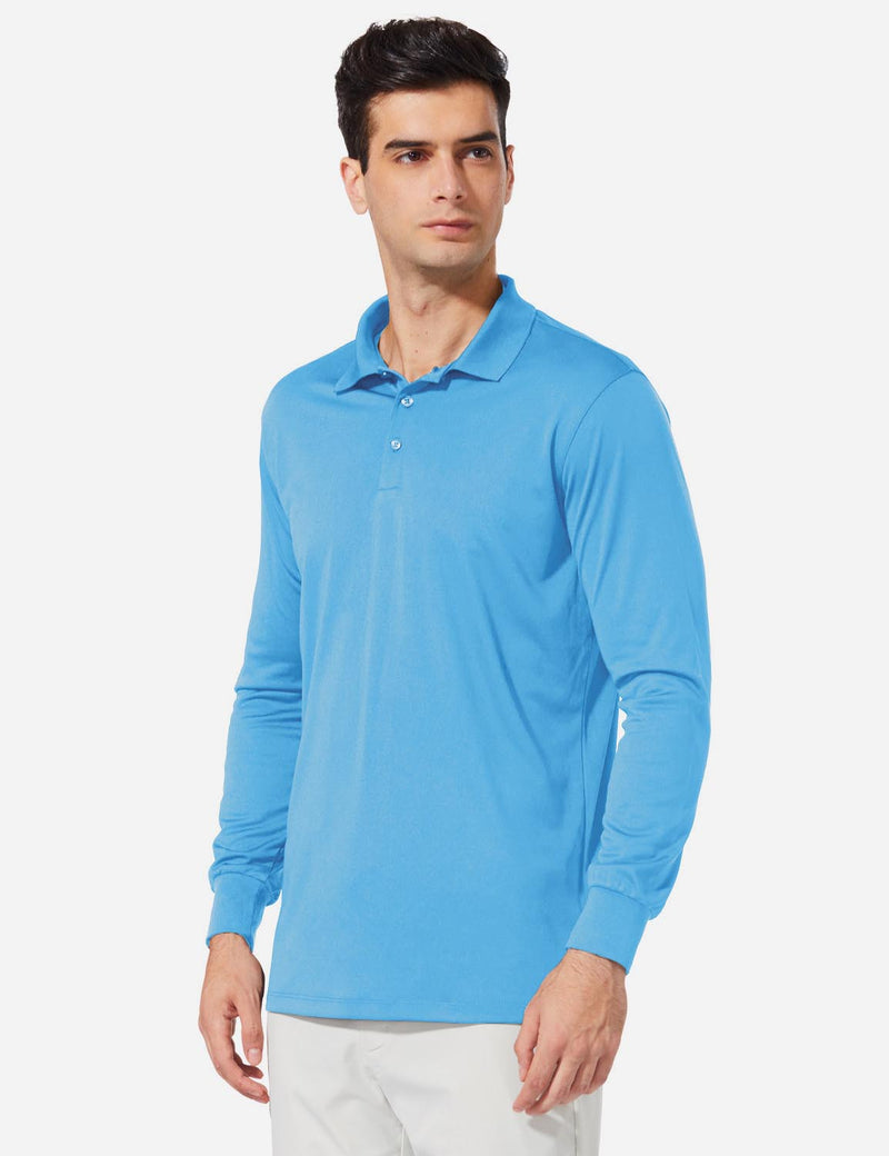 Baleaf Men UPF50+ Button Up Long Sleeved Cuffed Polo Golf Blue Side