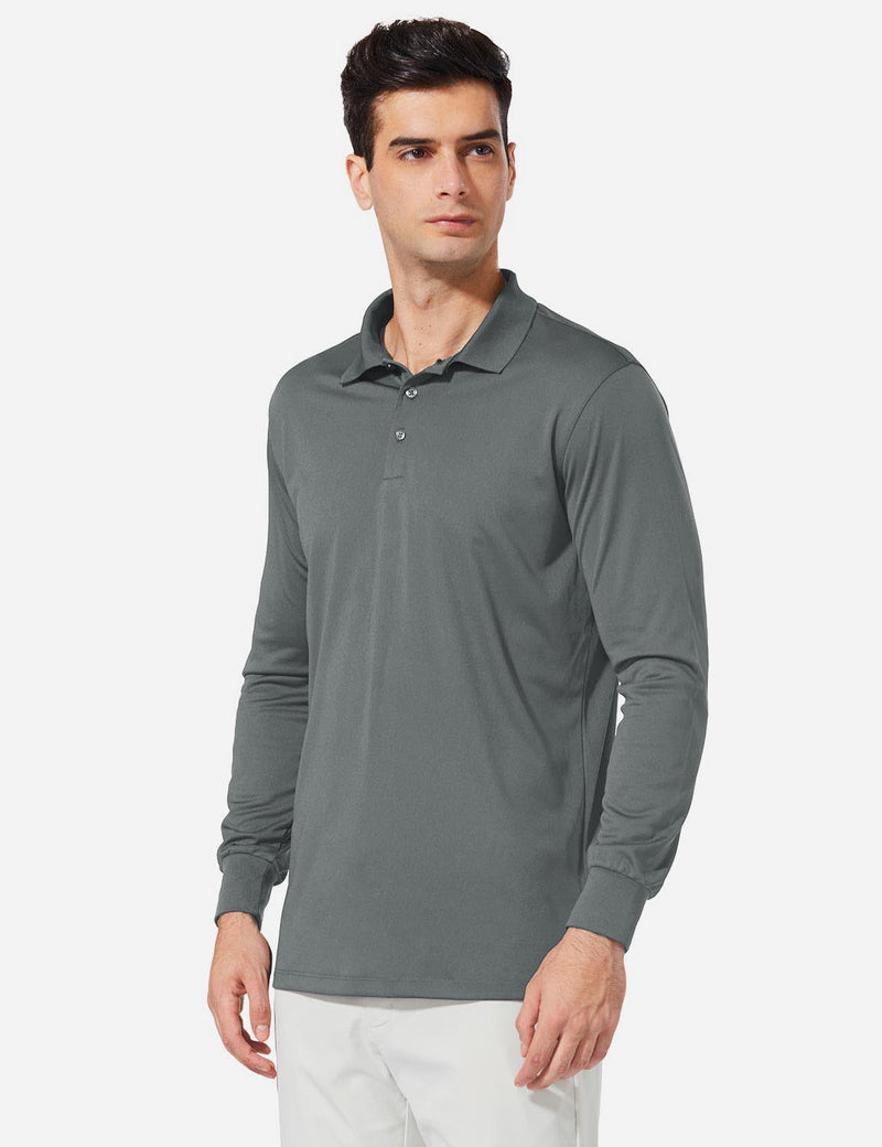 Baleaf Men UPF 50+ Polo Golf Long Shirts dark grey side