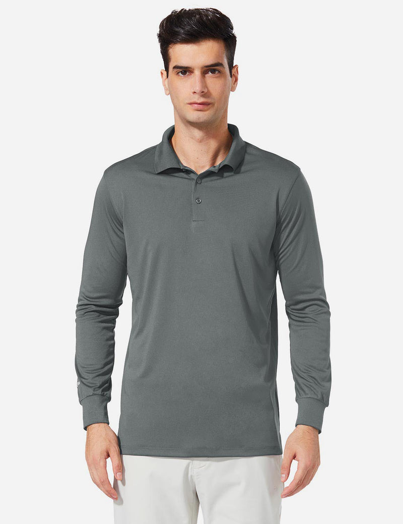 Baleaf Men UPF 50+ Polo Golf Long Shirts dark grey front