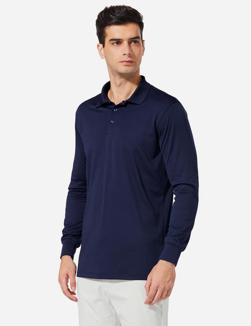 Baleaf Men UPF 50+ Polo Golf Long Shirts navy side