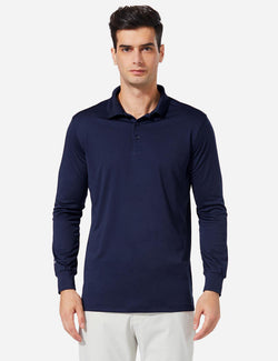 Baleaf Men UPF 50+ Polo Golf Long Shirts navy front