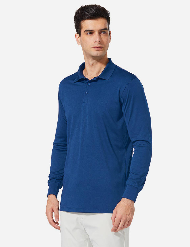 Baleaf Men UPF 50+ Polo Golf Long Shirts royal blue side