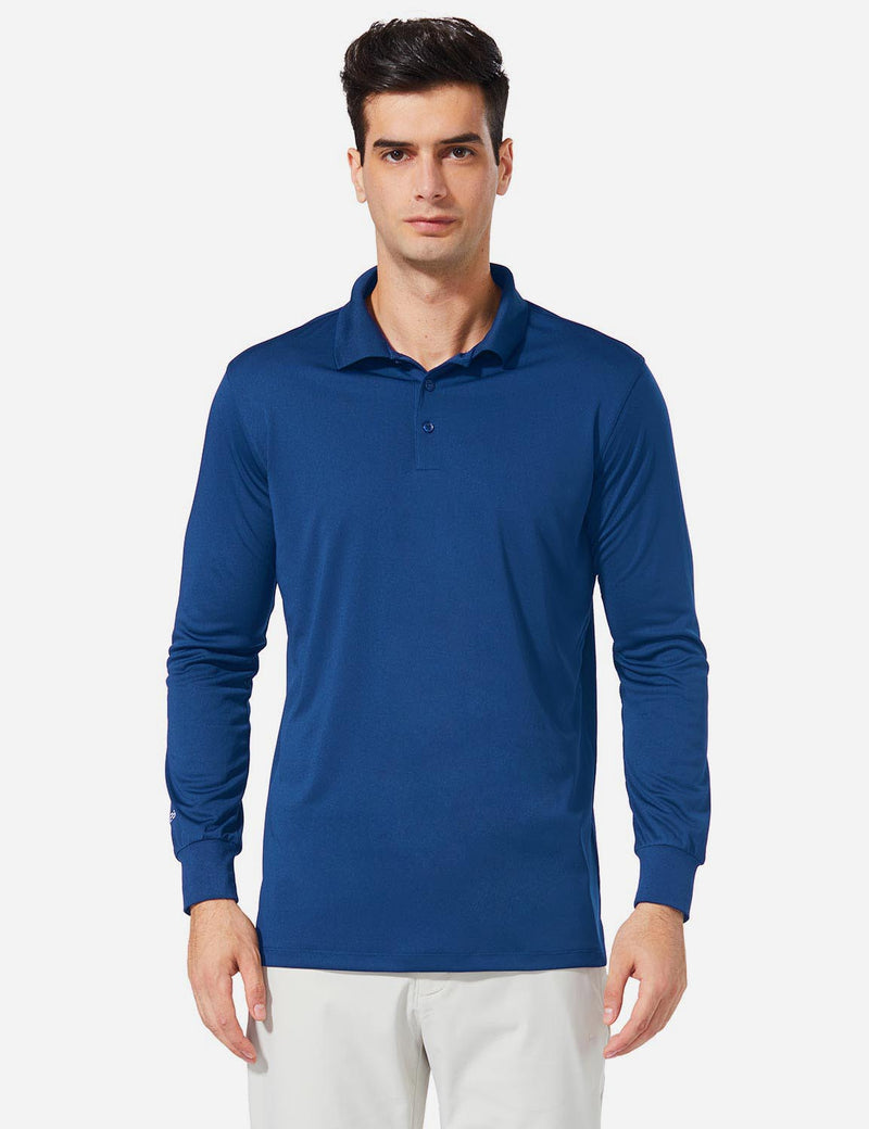 Baleaf Men UPF 50+ Polo Golf Long Shirts royal blue front