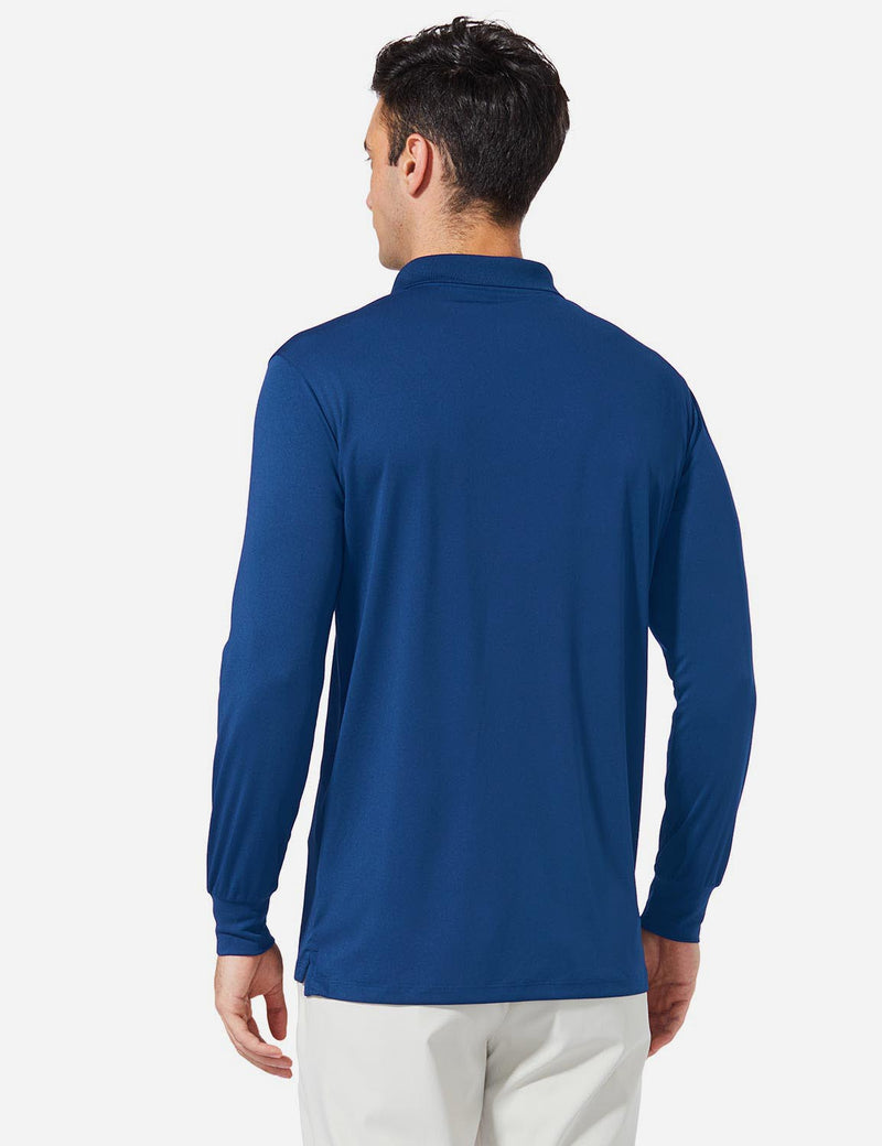 Baleaf Men UPF 50+ Polo Golf Long Shirts royal blue back