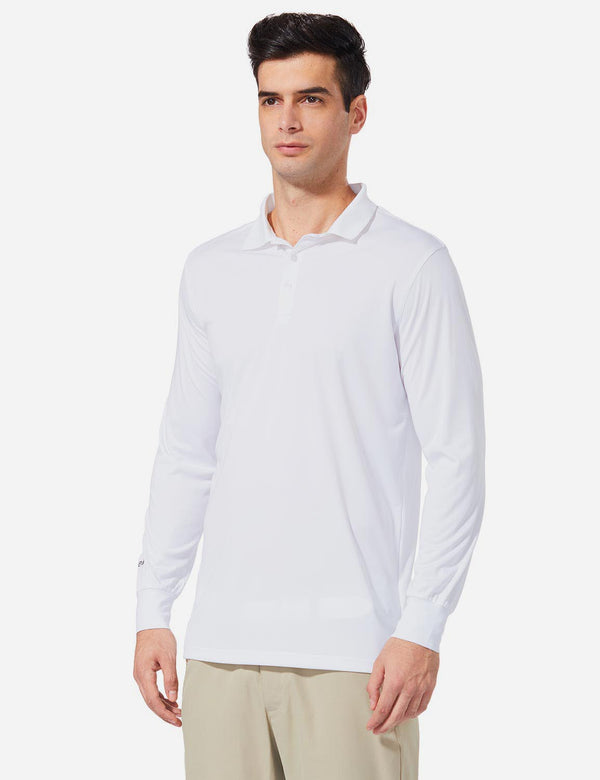Baleaf Men UPF 50+ Polo Golf Long Shirts white side
