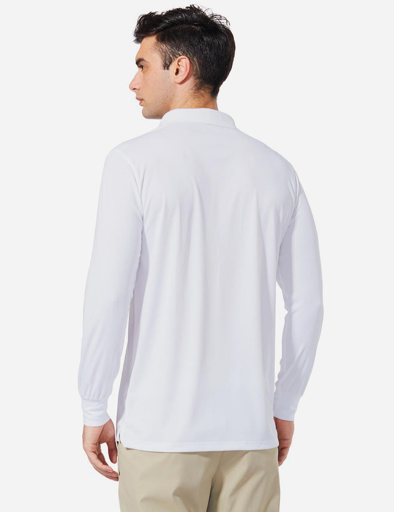 Baleaf Men UPF 50+ Polo Golf Long Shirts white back
