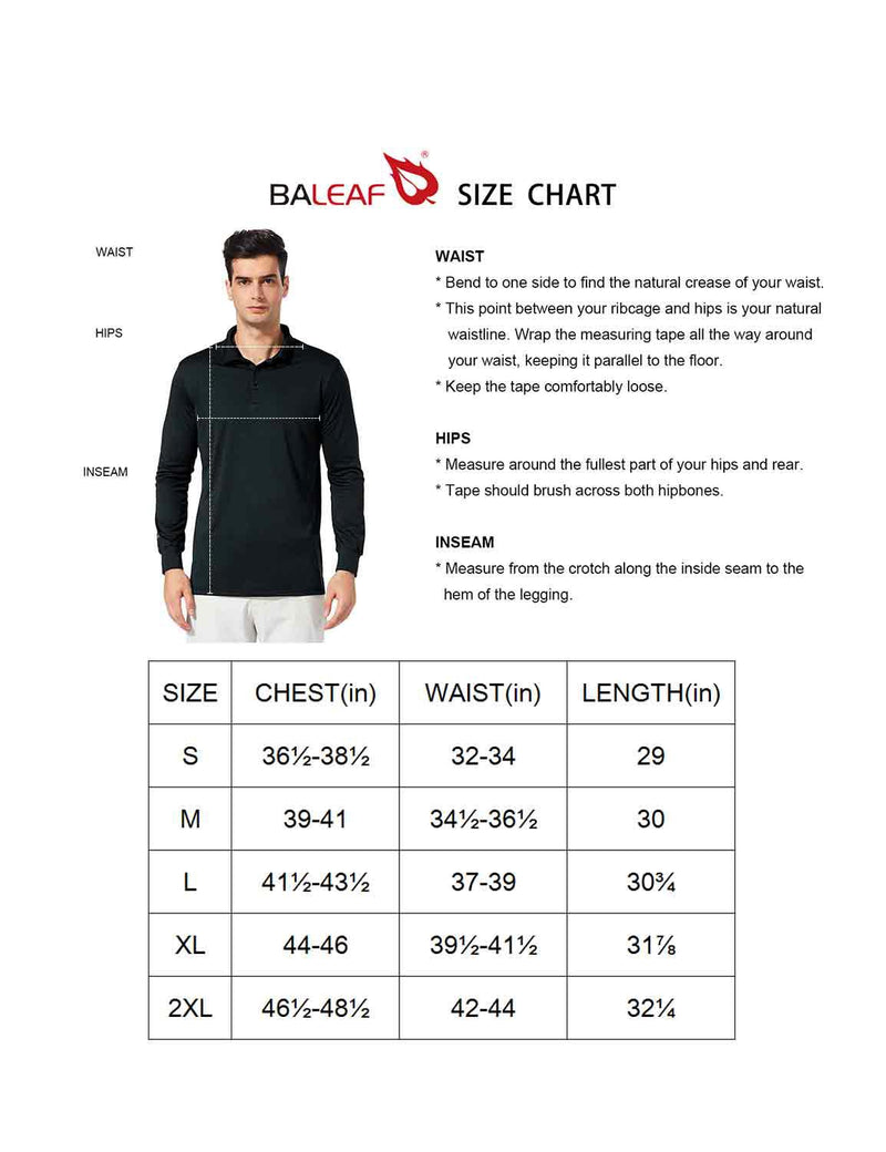 Baleaf Men UPF 50+ Polo Golf Long Shirts size chart