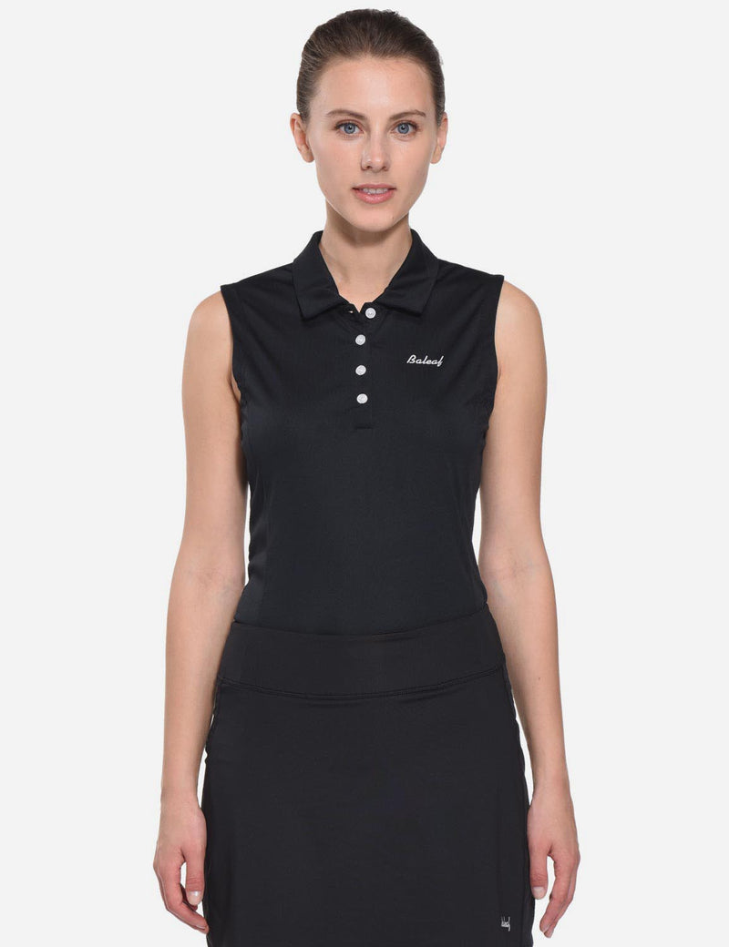 Baleaf Womens UPF50+ Asymmetrical Sleeveless Buttoned Polo Shirt Black front