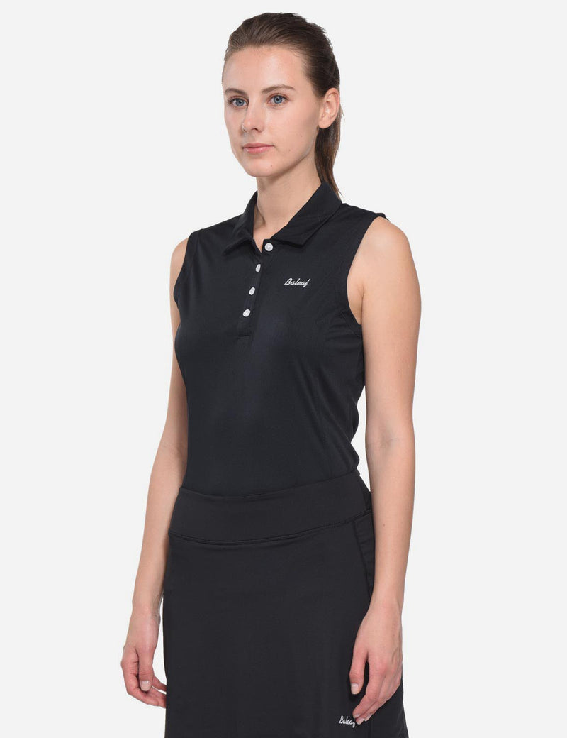 Baleaf Womens UPF50+ Asymmetrical Sleeveless Buttoned Polo Shirt Black side