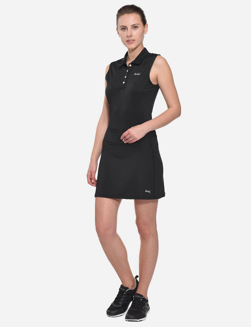 Baleaf Womens UPF50+ Asymmetrical Sleeveless Buttoned Polo Shirt Black full