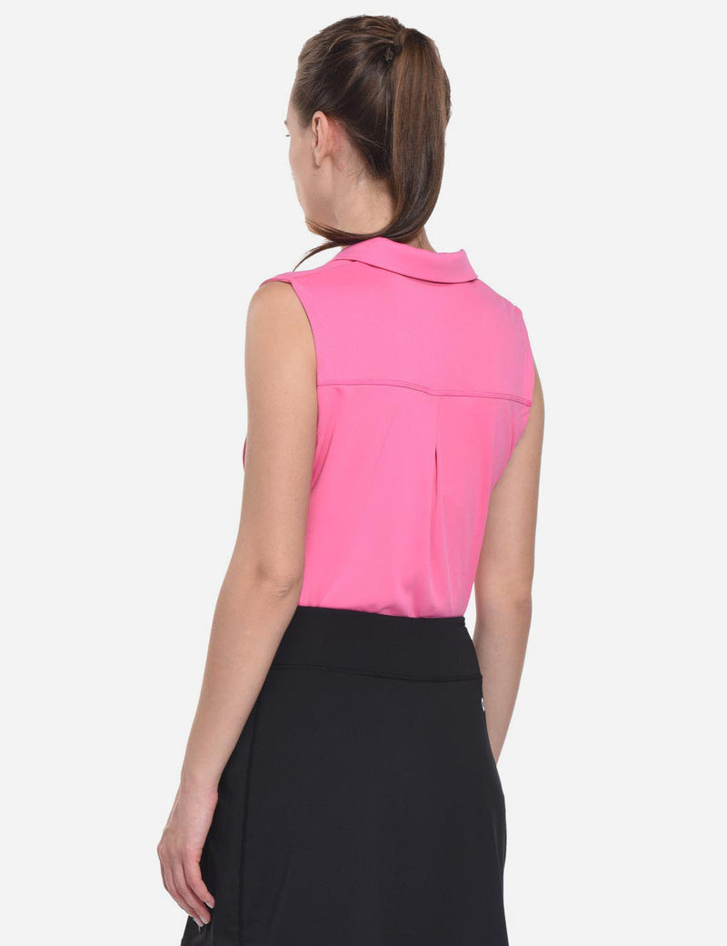 Baleaf Womens UPF50+ Asymmetrical Sleeveless Buttoned Polo Shirt Pink back