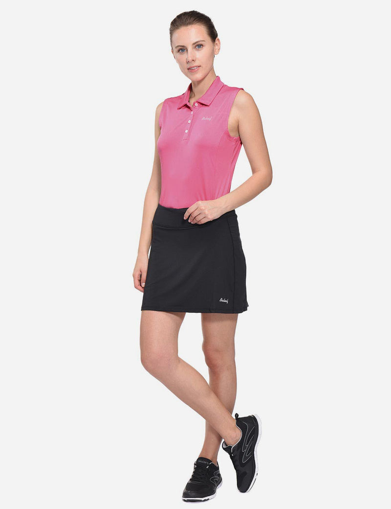 Baleaf Womens UPF50+ Asymmetrical Sleeveless Buttoned Polo Shirt Pink full