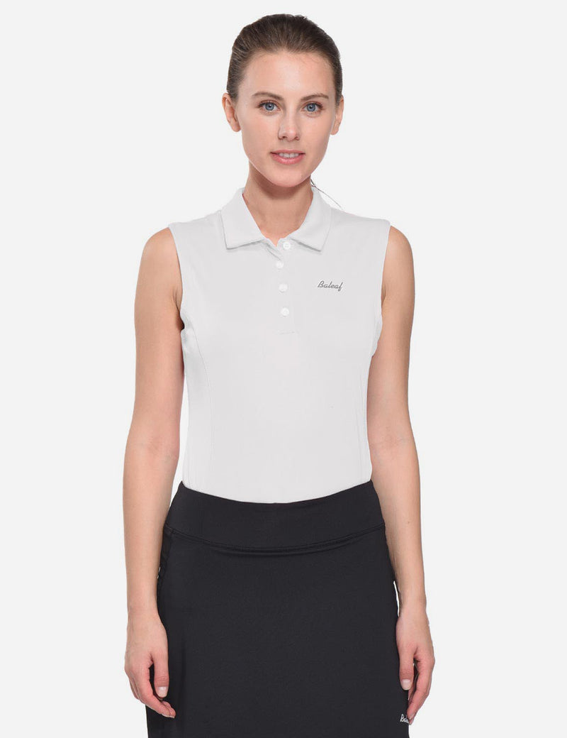 Baleaf Womens UPF50+ Asymmetrical Sleeveless Buttoned Polo Shirt White front