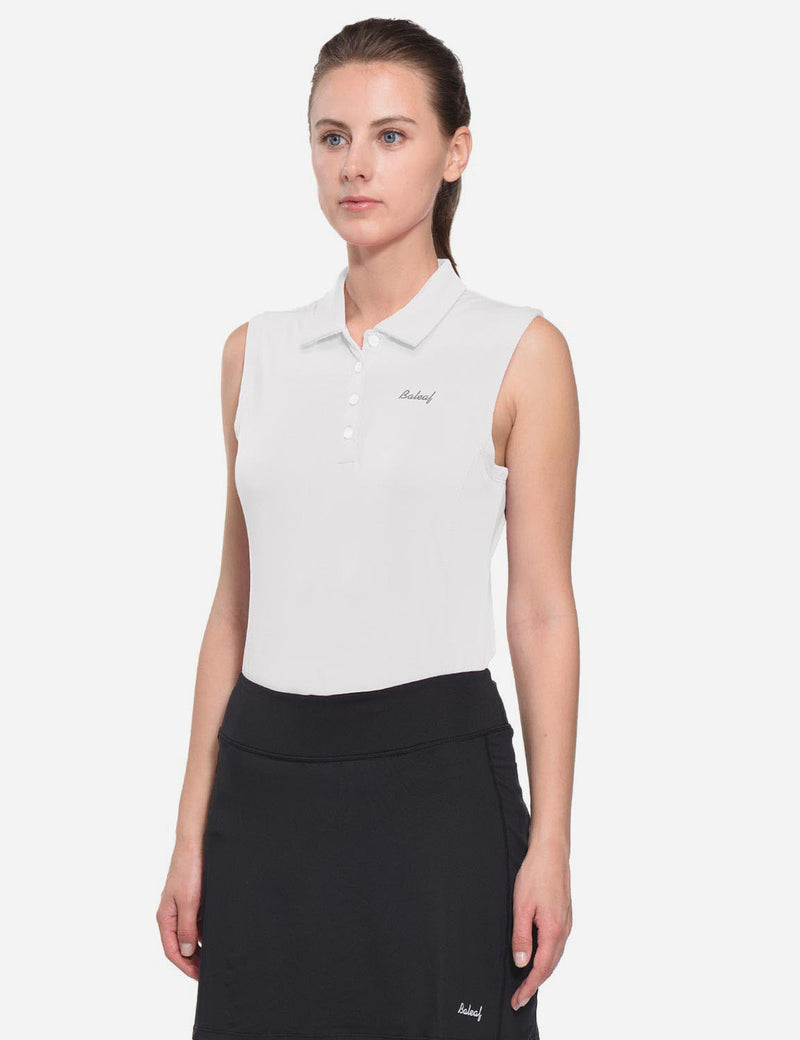 Baleaf Womens UPF50+ Asymmetrical Sleeveless Buttoned Polo Shirt White side