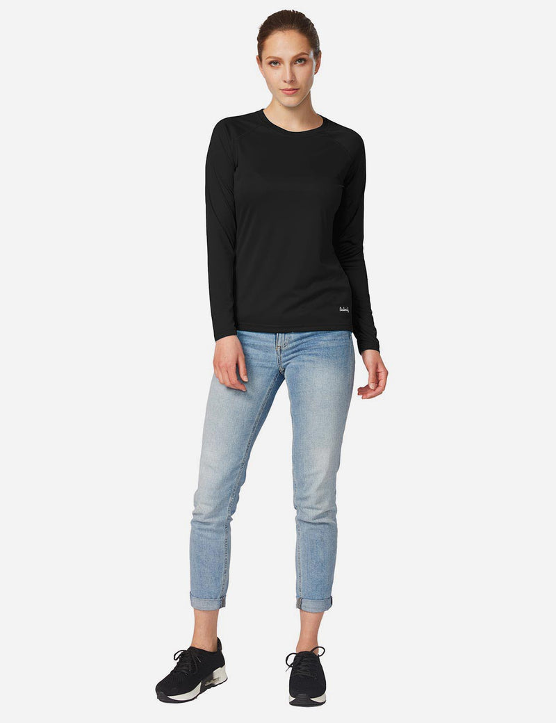 Baleaf Womens UPF 50+ Crew Neck Casual Long Sleeve Shirt black back