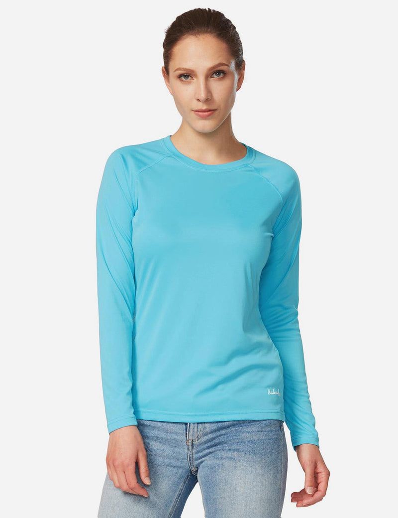 Baleaf Women's UPF 50+ Crew Neck Casual Long Sleeved Shirt Blue Details