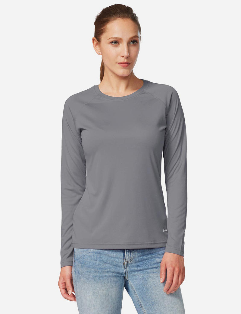 Baleaf Women's UPF 50+ Crew Neck Casual Long Sleeved Shirt Charcoal Gray Details