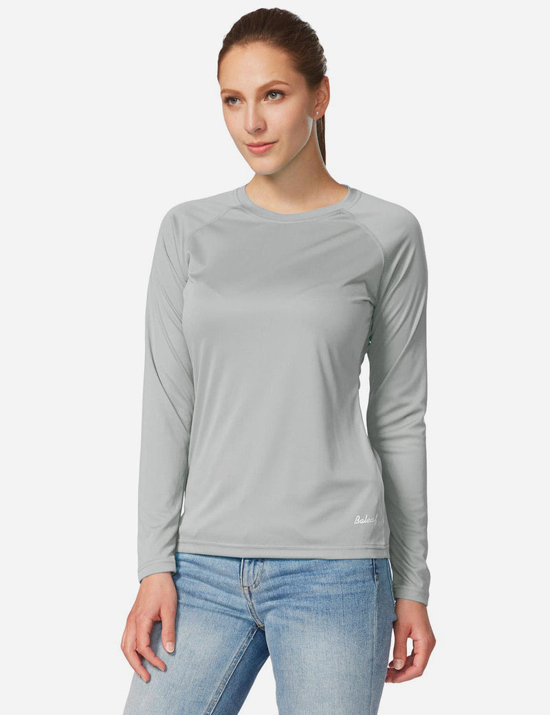Baleaf Womens UPF 50+ Crew Neck Casual Long Sleeve Shirt grey front