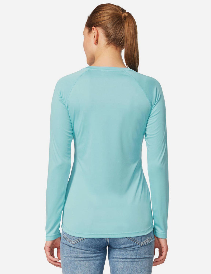 Baleaf Women's UPF 50+ Crew Neck Casual Long Sleeved Shirt Light Green Details
