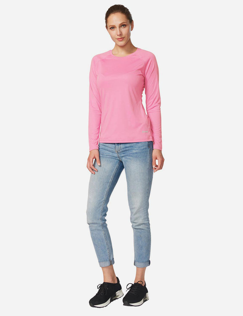 Baleaf Women's UPF 50+ Crew Neck Casual Long Sleeved Shirt Peach Pink Back