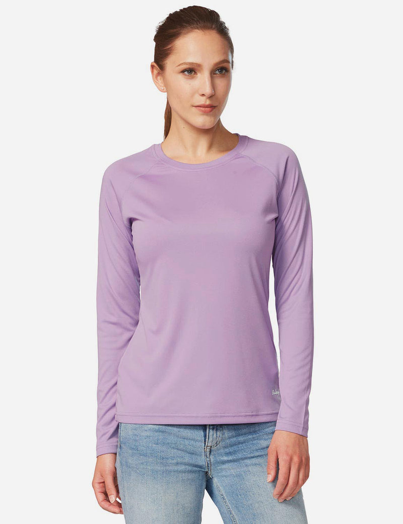 Baleaf Womens UPF 50+ Crew Neck Casual Long Sleeve Shirt purple back
