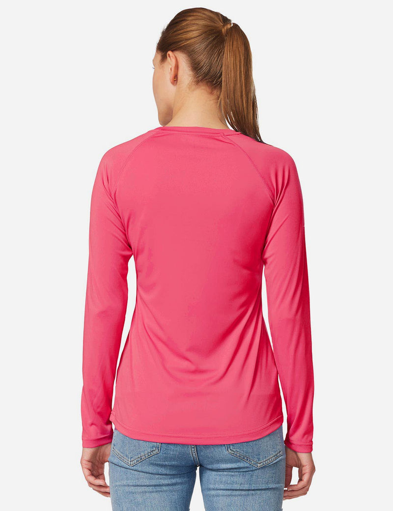 Baleaf Women's UPF 50+ Crew Neck Casual Long Sleeved Shirt Rouge Red Details