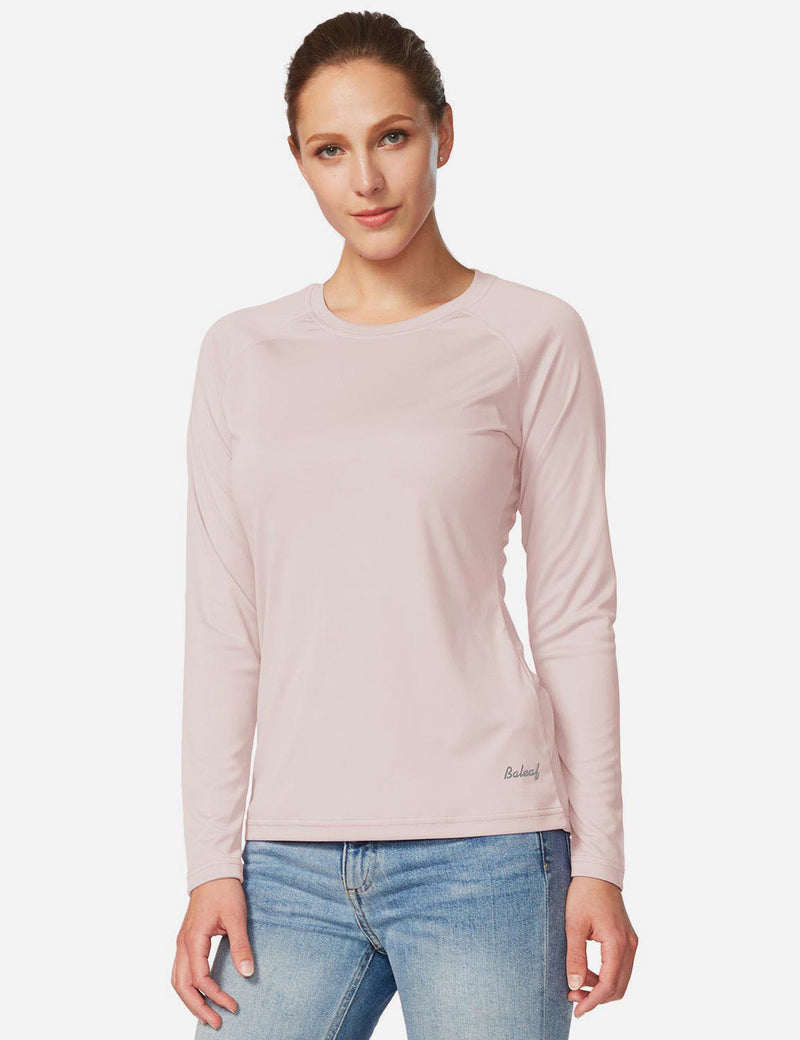 Baleaf Women's UPF 50+ Crew Neck Casual Long Sleeved Shirt Seashell Pink Details