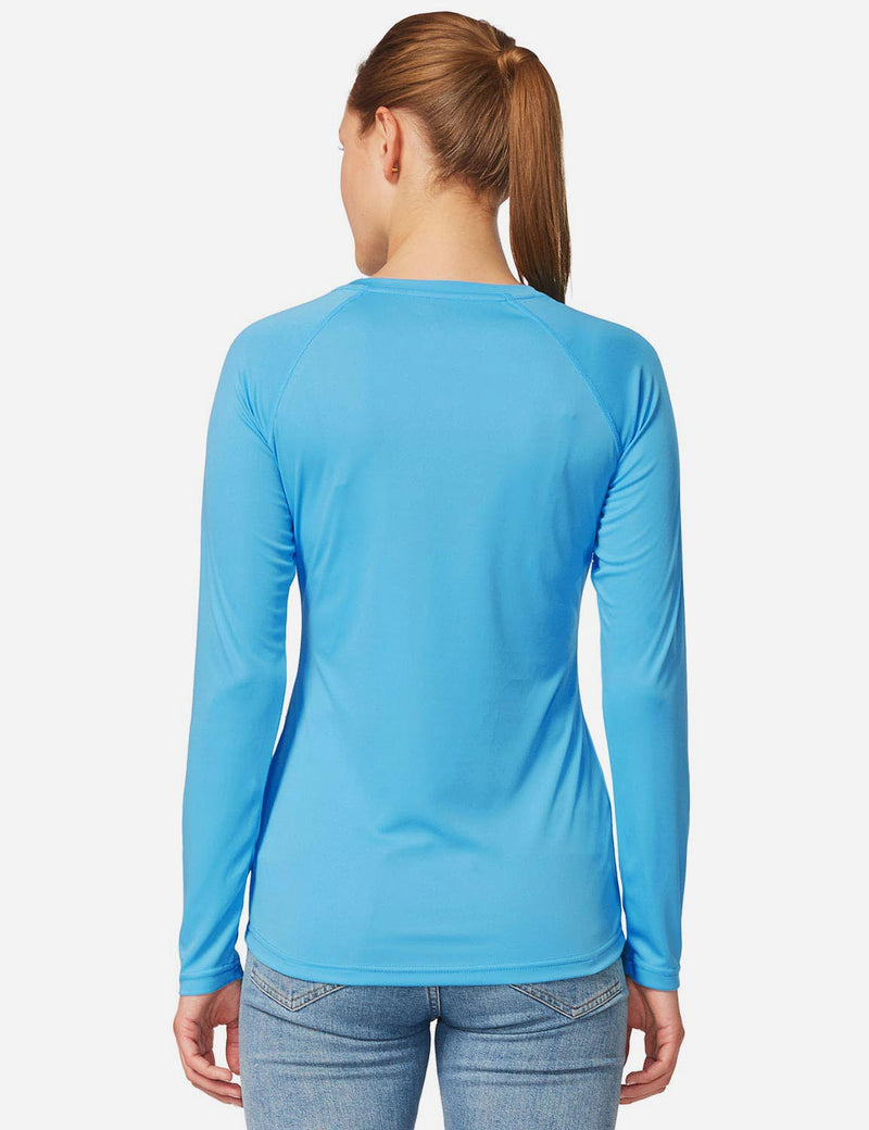 Baleaf Womens UPF 50+ Crew Neck Casual Long Sleeve Shirt sky blue back