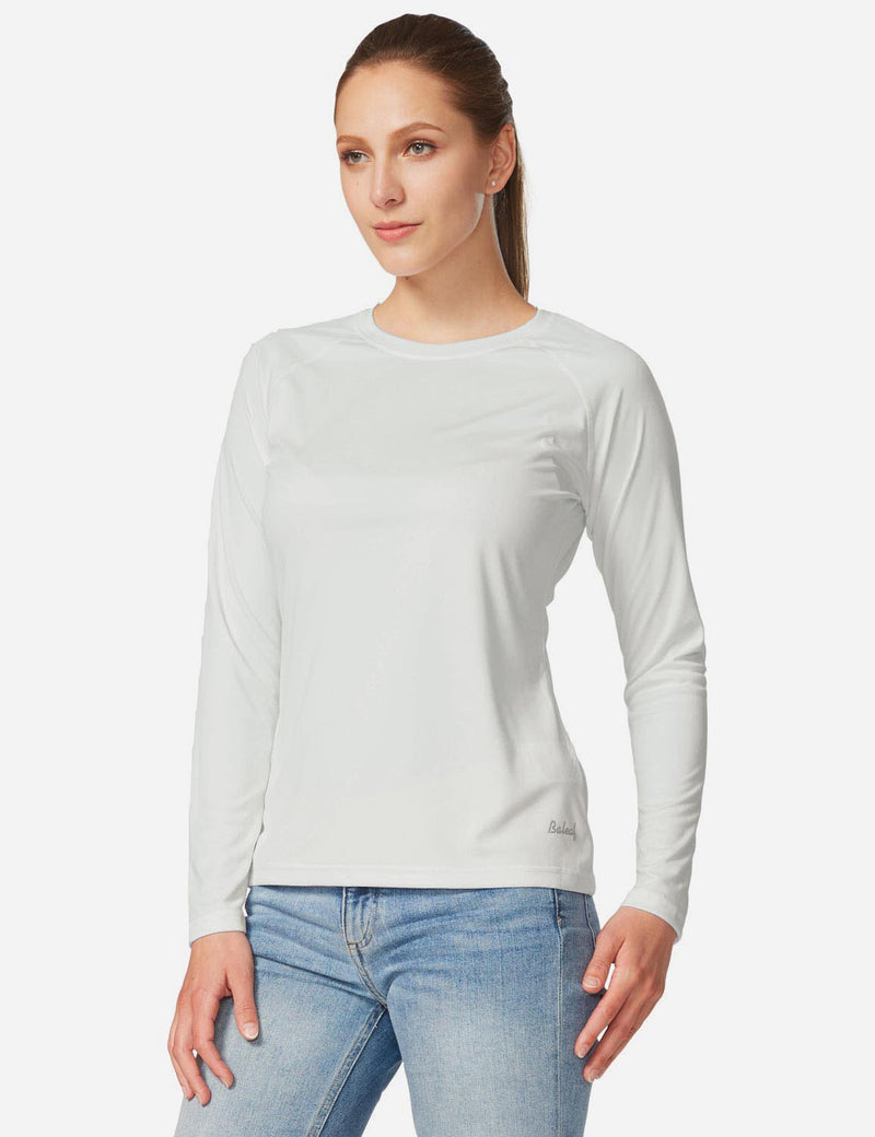Baleaf Womens UPF 50+ Crew Neck Casual Long Sleeve Shirt white back