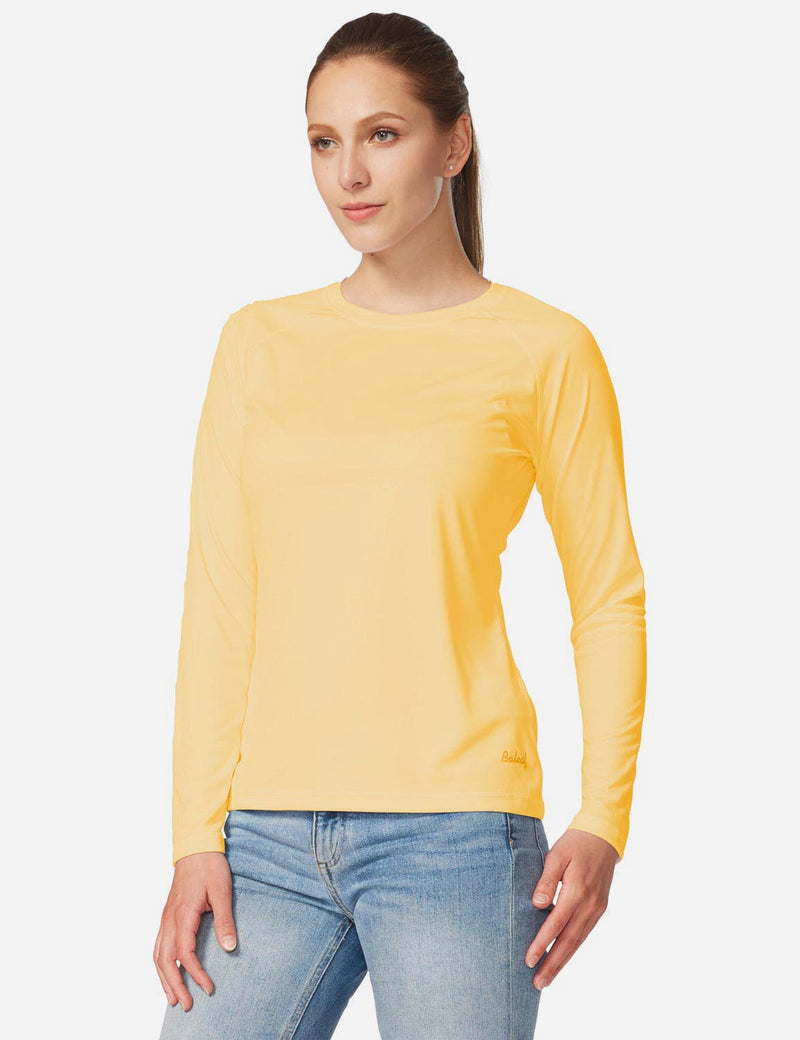 Baleaf Womens UPF 50+ Crew Neck Casual Long Sleeve Shirt yellow front