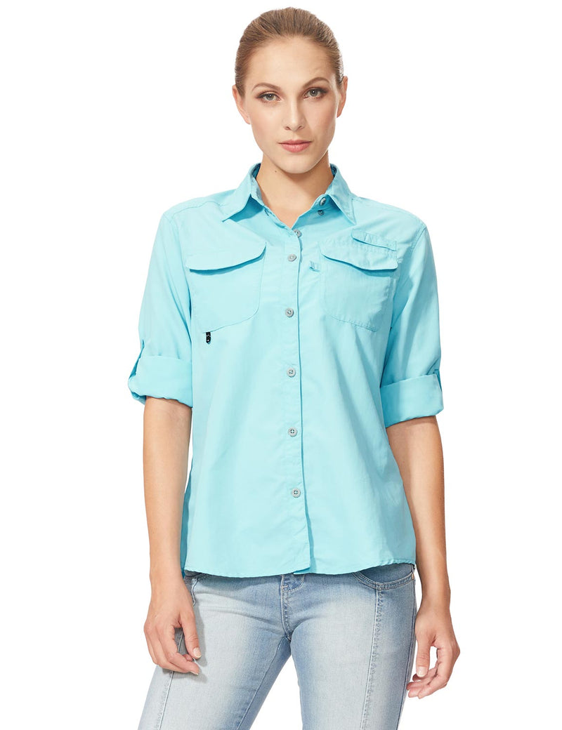 Baleaf Womens UPF 50+ Roll-Up Chest Pocketed Casual Long Sleeve Shirt blue front