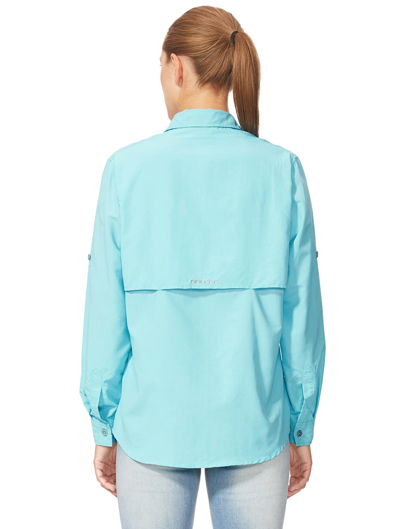 Baleaf Womens UPF 50+ Roll-Up Chest Pocketed Casual Long Sleeve Shirt blue back