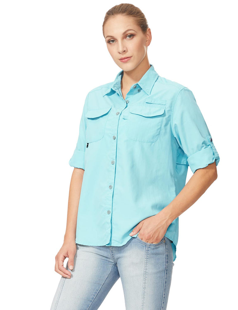 Baleaf Womens UPF 50+ Roll-Up Chest Pocketed Casual Long Sleeve Shirt blue side