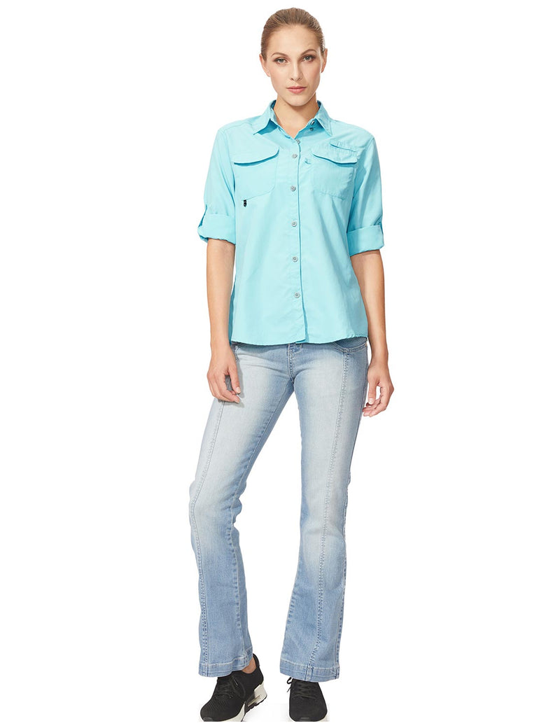 Baleaf Womens UPF 50+ Roll-Up Chest Pocketed Casual Long Sleeve Shirt blue full