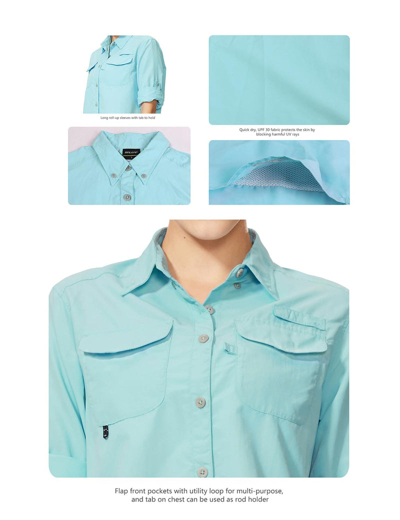 Baleaf Womens UPF 50+ Roll-Up Chest Pocketed Casual Long Sleeve Shirt blue details