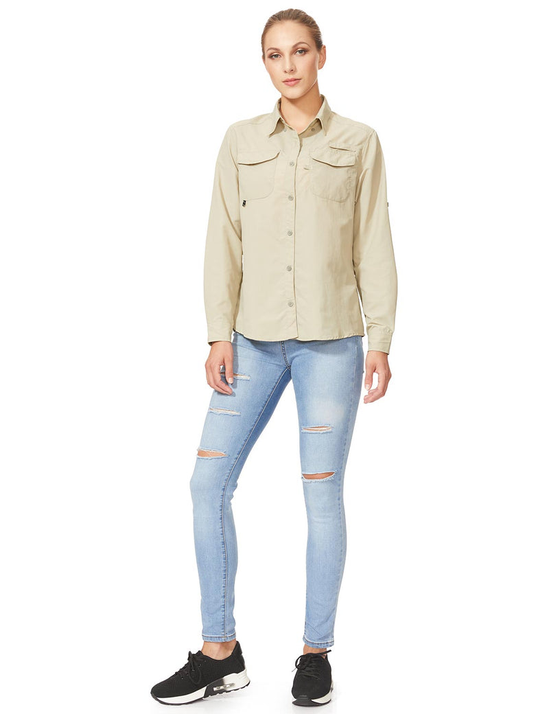 Baleaf Womens UPF 50+ Roll-Up Chest Pocketed Casual Long Sleeve Shirt khaki full