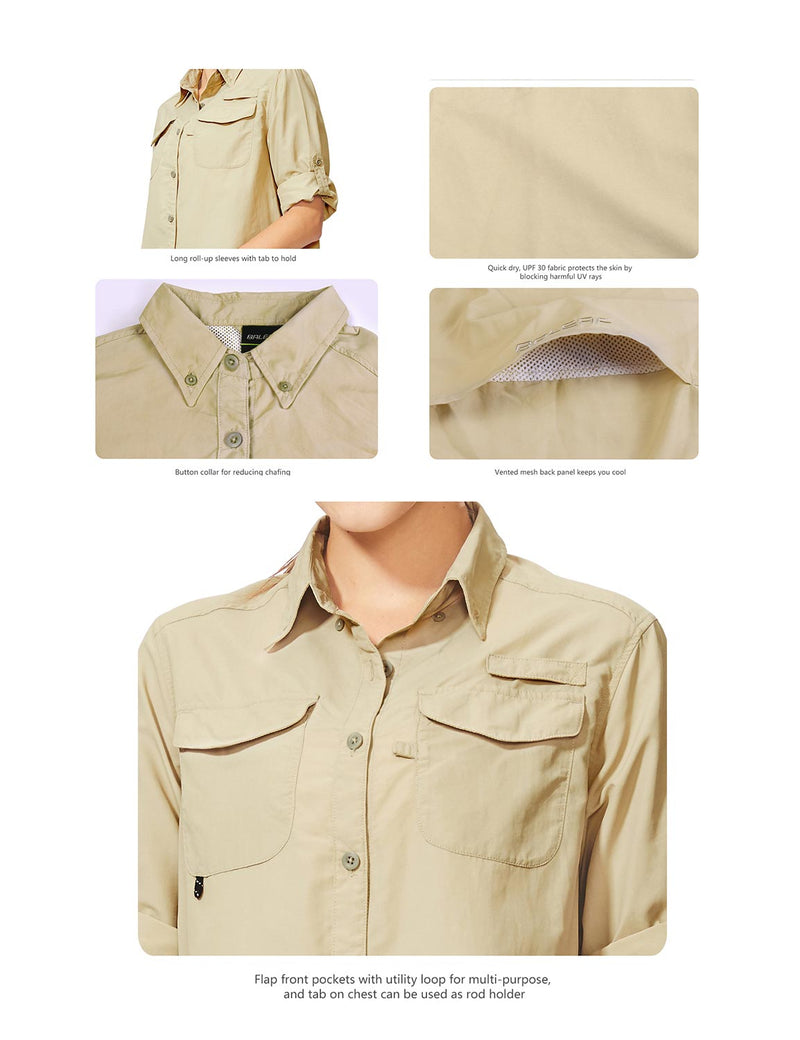 Baleaf Womens UPF 50+ Roll-Up Chest Pocketed Casual Long Sleeve Shirt khaki details