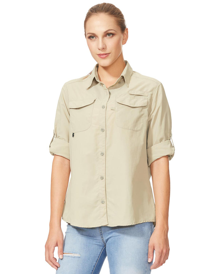 Baleaf Womens UPF 50+ Roll-Up Chest Pocketed Casual Long Sleeve Shirt khaki side