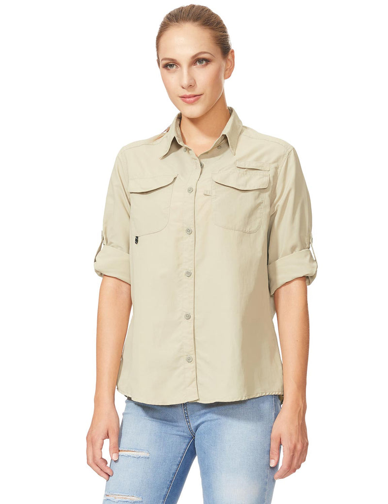 Baleaf Womens UPF 50+ Roll-Up Chest Pocketed Casual Long Sleeve Shirt khaki front
